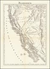 Arizona, Utah, Nevada, Utah, Baja California and California Map By Anonymous