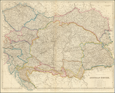 Austria, Hungary, Romania and Czech Republic & Slovakia Map By John Arrowsmith