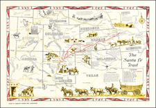 Texas, Nebraska, Oklahoma & Indian Territory, Arizona, Colorado, Utah, Nevada, Colorado, Utah and Wyoming Map By American Pioneer Trails Association