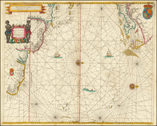 Atlantic Ocean, New England, Caribbean, South America, Brazil and Canada Map By John Seller
