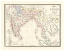 India, Malaysia and Thailand, Cambodia, Vietnam Map By J. Andriveau-Goujon