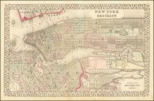 New York City Map By Samuel Augustus Mitchell Jr.