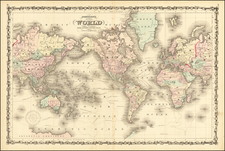 World Map By Alvin Jewett Johnson  &  Browning