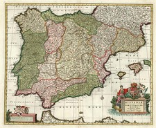 Europe, Spain, Portugal and Balearic Islands Map By Nicolaes Visscher I