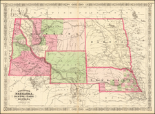 Plains, Nebraska, North Dakota, South Dakota, Rocky Mountains, Idaho, Montana and Wyoming Map By Benjamin P Ward / Alvin Jewett Johnson