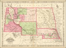 Johnson's Nebraska, Dakota, Idaho & Montana By Benjamin P Ward / Alvin Jewett Johnson