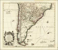Argentina and Chile Map By Johannes Covens  &  Cornelis Mortier