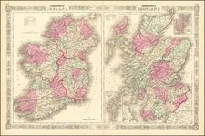Scotland and Ireland Map By Alvin Jewett Johnson