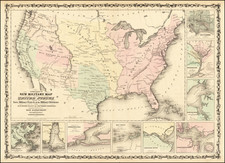 United States and Civil War Map By Alvin Jewett Johnson  &  Browning