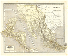Texas, Southwest, Rocky Mountains, Central America and California Map By Sidney Morse  &  Samuel Breese