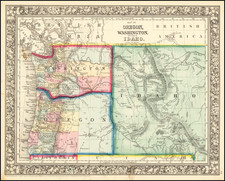 Idaho, Oregon and Washington Map By Samuel Augustus Mitchell Jr.