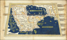 Middle East and Arabian Peninsula Map By Claudius Ptolemy / Lienhart Holle