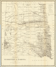 North Dakota and South Dakota Map By General Land Office