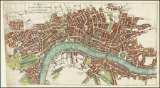 A Map of London, Westminster and Southwark With ye New Buildings to ye Year 1733. By John Mottley