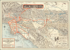 California and Los Angeles Map By Pacific Electric Railway / Gerald A. Eddy