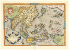 China, Japan, India, Southeast Asia, Philippines, Indonesia and Malaysia Map By Abraham Ortelius