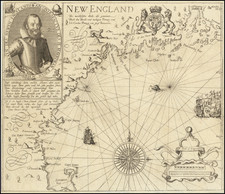 New England and Canada Map By John Smith / Levinus Hulsius