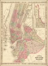 New York City Map By Alvin Jewett Johnson