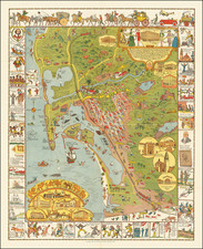 This limned Carte portraying with most exacting fidelity the History, Romance and Humour of the glorious City of San Diego by the Pacific, likewise showing the Noble Harbour and its surrounding Terraine, is present to you herewith by the Marston Company . . .  By Jo Mora