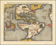 North America, South America, Japan and America Map By Sebastian Munster