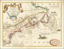 New England, Mid-Atlantic, Southeast and Canada Map By Vincenzo Maria Coronelli / Jean-Baptiste Nolin