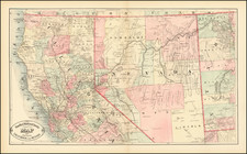 Nevada and California Map By HS Stebbins