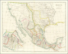 Texas, Southwest, Rocky Mountains, Mexico and California Map By John Arrowsmith