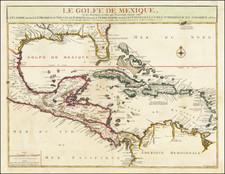 Florida, South, Southeast, Texas and Caribbean Map By Nicolas de Fer