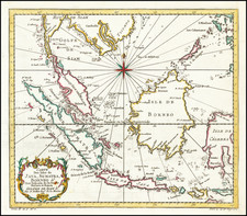 Southeast Asia, Indonesia and Malaysia Map By Jacques Nicolas Bellin
