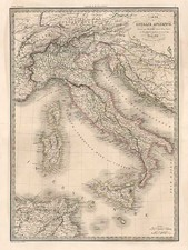 Europe, Italy and Balearic Islands Map By Alexandre Emile Lapie