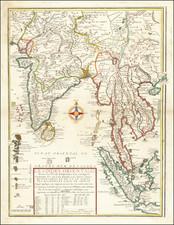 India, Southeast Asia, Singapore, Malaysia and Thailand, Cambodia, Vietnam Map By Nicolas de Fer