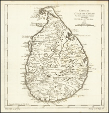 Sri Lanka Map By Jacques Nicolas Bellin