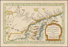 New York State, Canada and Eastern Canada Map By Jacques Nicolas Bellin