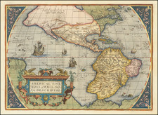 Western Hemisphere and America Map By Abraham Ortelius