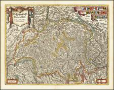 Switzerland Map By Matheus Merian