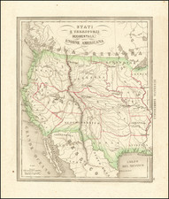 Southwest, Rocky Mountains and California Map By Francesco Costantino Marmocchi