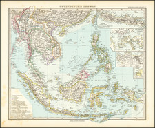 Southeast Asia, Philippines, Singapore and Indonesia Map By Adolf Stieler