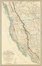 United States, Texas, Southwest, Rocky Mountains, Mexico and California Map By Eugene Duflot De Mofras