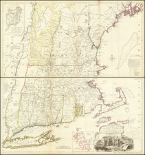 New England, Connecticut, Massachusetts, Rhode Island, Vermont and American Revolution Map By Thomas Jefferys / Bradock Mead