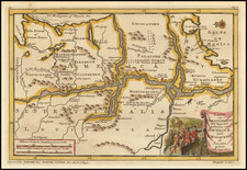 (Early Map of the Mississippi River)  Land en Volk-Ontdekking in't Noorder gedeelte van America, door P. Marquette en Joliet; gedaan in't Jaar 1673   By Pieter van der Aa