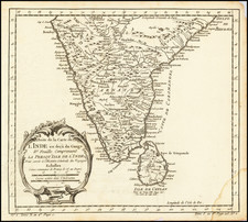 India and Sri Lanka Map By Jacques Nicolas Bellin