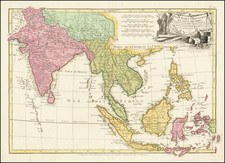India, Southeast Asia, Philippines and Indonesia Map By Jean Lattré