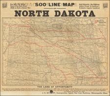 North Dakota Map By Soo Line