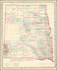 North Dakota and South Dakota Map By Samuel Augustus Mitchell Jr.
