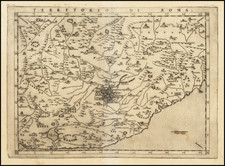 Northern Italy, Southern Italy and Rome Map By Girolamo Ruscelli