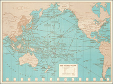 World, Pacific Ocean, Hawaii, Japan, Philippines, Singapore, Malaysia, Pacific, Hawaii and World War II Map By Hammond & Co.
