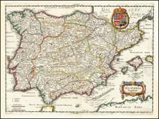 Spain and Portugal Map By Matthaus Merian
