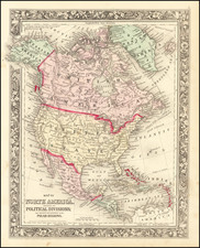 North America Map By Samuel Augustus Mitchell Jr.