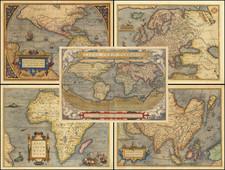 (World & Continents) Typus Orbis Terrarum / Americae Sive Novi Orbis Nova Descriptio / Asiae Nova Descriptio / Africae Tabula Nova / Europae By Abraham Ortelius