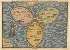 World, Holy Land and Curiosities Map By Heinrich Buenting